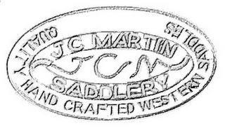mark for JC MARTIN SADDLERY JCM QUALITY HAND CRAFTED WESTERN SADDLES, trademark #85590258