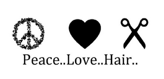 mark for PEACE..LOVE..HAIR.., trademark #85594860