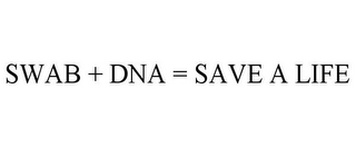 mark for SWAB + DNA = SAVE A LIFE, trademark #85595683