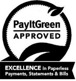 mark for PAYITGREEN APPROVED EXCELLENCE IN PAPERLESS PAYMENTS, STATEMENTS & BILLS, trademark #85598409
