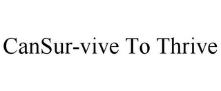 mark for CANSUR-VIVE TO THRIVE, trademark #85602354