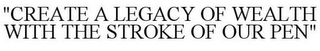 "mark for ""CREATE A LEGACY OF WEALTH WITH THE STROKE OF OUR PEN"", trademark #85603055"