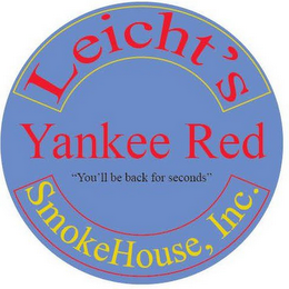 "mark for LEICHT'S YANKEE RED ""YOU'LL BE BACK FOR SECONDS"" SMOKEHOUSE, INC., trademark #85603836"
