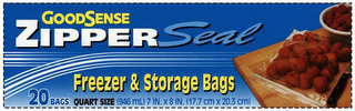 mark for GOODSENSE ZIPPER SEAL FREEZER & STORAGEBAGS 20 BAGS QUART SIZE (946 ML) 7 IN. X 8 IN. (17.7 CM X 20.3 CM), trademark #85604930