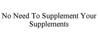 mark for NO NEED TO SUPPLEMENT YOUR SUPPLEMENTS, trademark #85607277