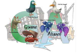 mark for GOWANUS ALLIANCE GA GIPPY THE GOWANUS GUPPY PENNY THE PIGEON ROD THE RODENT HERMAN THE CRAB GULL THE SEAGULL BETTY THE BETTA, trademark #85609980
