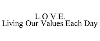 mark for L.O.V.E. LIVING OUR VALUES EACH DAY, trademark #85612607