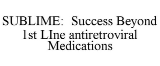 mark for SUBLIME: SUCCESS BEYOND 1ST LINE ANTIRETROVIRAL MEDICATIONS, trademark #85615351