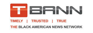 mark for TBANN TIMELY  |  TRUSTED  |  TRUE THE BLACK AMERICAN NEWS NETWORK, trademark #85624604