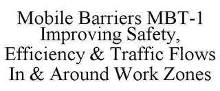 mark for MOBILE BARRIERS MBT-1 IMPROVING SAFETY, EFFICIENCY & TRAFFIC FLOWS IN & AROUND WORK ZONES, trademark #85631116