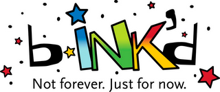mark for BINK'D NOT FOREVER. JUST FOR NOW., trademark #85634639