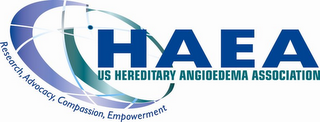 mark for HAEA US HEREDITARY ANGIOEDEMA ASSOCIATION RESEARCH, ADVOCACY, COMPASSION, EMPOWERMENT, trademark #85637949