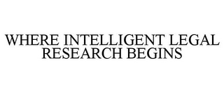 mark for WHERE INTELLIGENT LEGAL RESEARCH BEGINS, trademark #85638895