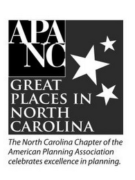 mark for APA NC GREAT PLACES IN NORTH CAROLINA THE NORTH CAROLINA CHAPTER OF THE AMERICAN PLANNING ASSOCIATION CELEBRATES EXCELLENCE IN PLANNING., trademark #85642636