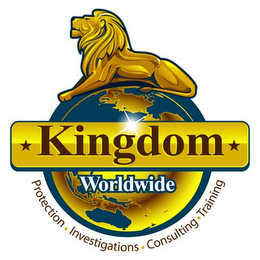 mark for KINGDOM WORLDWIDE PROTECTION · INVESTIGATIONS · CONSULTING · TRAINING, trademark #85645146