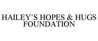 mark for HAILEY'S HOPES & HUGS FOUNDATION, trademark #85645638