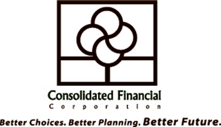 mark for CONSOLIDATED FINANCIAL C O R P O R A T I O N BETTER CHOICES. BETTER PLANNING. BETTER FUTURE., trademark #85647135