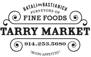 "mark for TARRY MARKET BATALI AND BASTIANICH PURVEYORS OF FINE FOODS 914.253.5680 ""BUON APPETITO"", trademark #85647469"