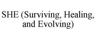 mark for SHE (SURVIVING, HEALING, AND EVOLVING), trademark #85647570