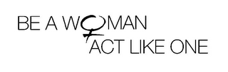 mark for BE A WOMAN ACT LIKE ONE, trademark #85647829