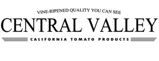 mark for VINE-RIPENED QUALITY YOU CAN SEE CENTRAL VALLEY CALIFORNIA TOMATO PRODUCTS, trademark #85648190