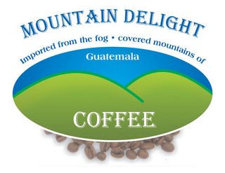 mark for MOUNTAIN DELIGHT COFFEE IMPORTED FROM THE FOG · COVERED MOUNTAINS OF GUATEMALA, trademark #85648203