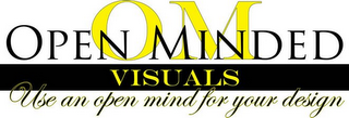 mark for OM OPEN MINDED VISUALS USE AN OPEN MIND FOR YOUR DESIGN, trademark #85648218