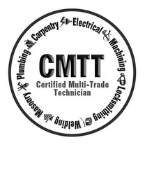 mark for CMTT CERTIFIED MULTI-TRADE TECHNICIAN CARPENTRY ELECTRICAL MACHINING LOCKSMITHING WELDING MASONRY PLUMBING, trademark #85652188