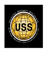 mark for USS UNLIMITED SECURITY SPECIALISTS A GLOBAL SECURITY AND INVESTIGATION CO., trademark #85659125