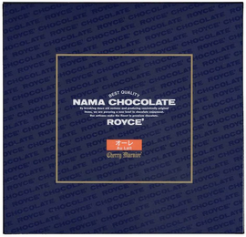 mark for ROYCE' CHOCOLATE, BEST QUALITY NAMA CHOCOLATE, BY BREAKING DOWN OLD CUSTOMS AND PRODUCING CONSISTENTLY ORIGINAL ITEMS, WE ARE PURSUING A NEW LEVEL IN CHOCOLATE ENJOYMENT. OUR ARTISANS MAKE THE FINEST IN PREMIUM CHOCOLATE. ROYCE', AU LAIT, CHERRY MARNIER, trademark #85660605