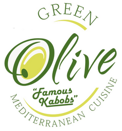 "mark for GREEN OLIVE MEDITERRANEAN CUISINE ""FAMOUS KABOBS"", trademark #85666542"