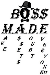 mark for BO$$ M.A.D.E. MAKE A$$ET$ DOUBT EVERYONE!!, trademark #85672080