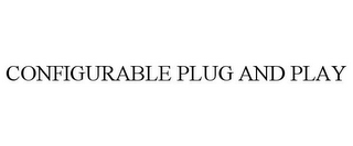 mark for CONFIGURABLE PLUG AND PLAY, trademark #85681698