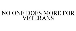 mark for NO ONE DOES MORE FOR VETERANS, trademark #85686945