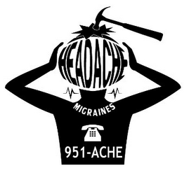 mark for HEADACHE MIGRAINES 951-ACHE, trademark #85698537