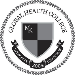 mark for GLOBAL HEALTH COLLEGE MK INTEGRITY 2004COMPASSION, trademark #85703400