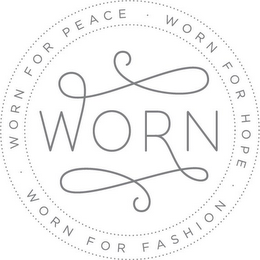 mark for WORN WORN FOR PEACE WORN FOR HOPE WORN FOR FASHION, trademark #85704030