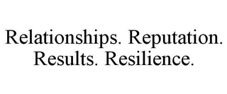 mark for RELATIONSHIPS. REPUTATION. RESULTS. RESILIENCE., trademark #85704338