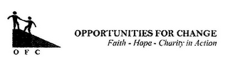 mark for O F C OPPORTUNITIES FOR CHANGE FAITH - HOPE- CHARITY IN ACTION, trademark #85715305
