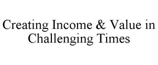 mark for CREATING INCOME & VALUE IN CHALLENGING TIMES, trademark #85720919