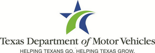 mark for TEXAS DEPARTMENT OF MOTOR VEHICLES HELPING TEXANS GO. HELPING TEXAS GROW., trademark #85721903