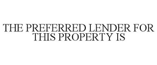 mark for THE PREFERRED LENDER FOR THIS PROPERTY IS, trademark #85722524