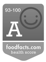 mark for 93-100 A FOODFACTS.COM HEALTH SCORE, trademark #85725071