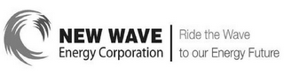 mark for NEW WAVE ENERGY CORPORATION RIDE THE WAVE TO OUR ENERGY FUTURE, trademark #85725503