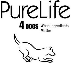 mark for PURELIFE 4DOGS WHEN INGREDIENTS MATTER, trademark #85742901