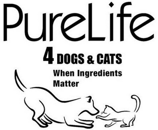 mark for PURELIFE 4DOGS & CATS WHEN INGREDIENTS MATTER, trademark #85742907