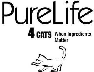 mark for PURELIFE 4CATS WHEN INGREDIENTS MATTER, trademark #85742912