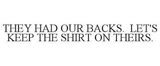 mark for THEY HAD OUR BACKS. LET'S KEEP THE SHIRT ON THEIRS., trademark #85743250