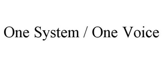 mark for ONE SYSTEM / ONE VOICE, trademark #85751357