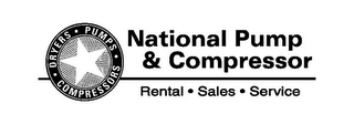 mark for NATIONAL PUMP & COMPRESSOR DRYERS · PUMPS · COMPRESSORS · RENTAL · SALES · SERVICE, trademark #85753226